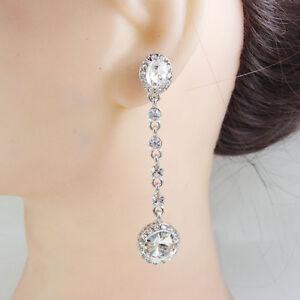 Fashion Bride Jewelry Linear Mix-Shape Cubic Zirconia Dangle Earrings
