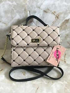 Luv Betsey By Betsey Johnson LBADDY Chai Pink/Black Quilted Crossbody Bag NWT