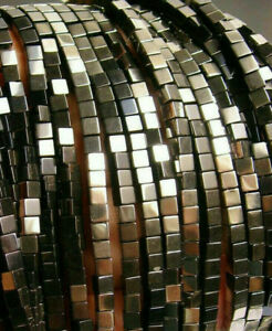 3mm Hematite Square Cube Beads (125+/- per strand)
