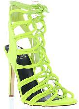 Cox Strappy Gladiator Lace Up Stiletto High Heel Open Toe Pump Sandal Shoe Yello