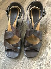 Clarks Brown Leather Strappy Sandals Wedge Heel 6