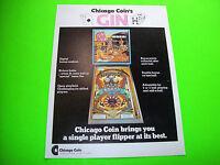 Chicago Coin GIN 1974 Original Flipper Game PINBALL MACHINE Promo Sales Flyer