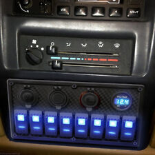 12/24V Switch Panel Breaker 8Gang Car Marine RV Boat Rocker Voltmeter Waterproof