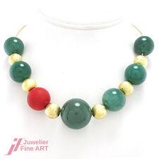 COLLIER -14K/585 Gelbgold - Jade -Koralle -Gelbgold Kugeln - 45,5 cm -75,3 g