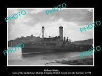 OLD POSTCARD SIZE PHOTO VALLETTA MALTA WWII PADDEL TUG ANCIENT WITH TROOPS 1940