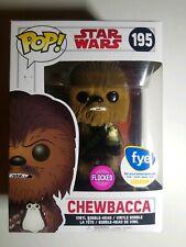 🔥Funko POP! Star Wars Chewbacca w/Porg (Flocked) #195 FYE Exclusive w/Protector