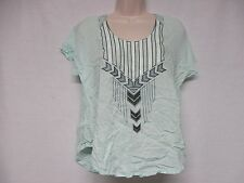 Lush Blouse Top White Beige Blue Geometric Embroidery Size XS  New    S6