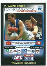 2001 Teamcoach Prize Card (71) Wayne CAREY Kangaroos