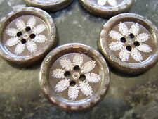 5 Large Wooden Brown Boho Tribal Flower Buttons 25mm