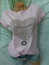 Esprit Shirt Bluse Kurzarm Damen Gr. XS bis XXL rosa mit Herz (368) NEU