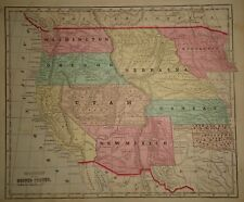 Antique 1856 Hand Colored UNITED STATES TERRITORIES MAP Old Authentic Vintage