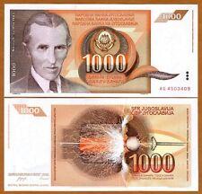 Yugoslavia, 1000 (1,000) Dinara, 1990, Pick 107, UNC > Brown Tesla