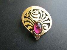 Gorgeous Retro Swirl Brooch with Amethyst Glass Cabachon