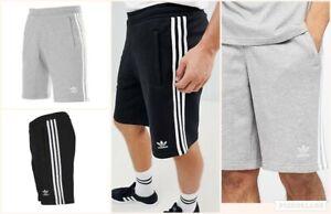 Adidas Mens Originals Shorts 3 Stripes Casual Cotton Fleece Zip Pockets RRP £39