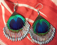Peacock Feather Beautiful Drop Beaded Boho Earrings Silver Bead