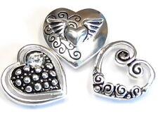 3 - 2 HOLE SLIDER BEAD MULTI DESIGN HEARTS ANGEL WINGS CLEAR CRYSTAL SWIRLS DOTS