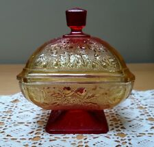Vintage Jeanette Glass Red Amberina Flashed Covered Candy Dish OAK & ACORN
