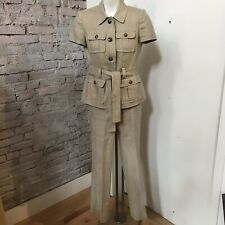 ANNE KLEIN Womens Safari Blazer Straight Leg Flat Front Pant Suit Linen Belted 2