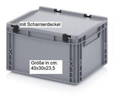Aufbewahrungs Box Behälter + Scharnierdeckel 40x30x23,5 Transport Boxen Kisten