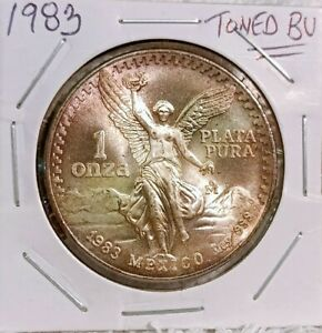 1983 Libertad 1 Oz Silver TONED BU .999 Fine | One Onza Plata Pura