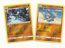 RARE LUCARIO & RIOLU- 2 EVOLUTIONS BURNING SHADOWS Pokemon Card-REV HOLO-MINT