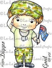 New La La Land Crafts DIGGER LUKA Cling Rubber Stamp Boy Aussie Military Veteran