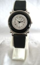GENUINE BLACK ONYX STONE SEMI-PRECIOUS LADIES WATCH *SILVERTONE* GENUINE LEATHER