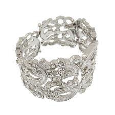 Flower Floral Bridal Wedding Stretch Cuff Bangle Bracelet Clear Jewelry Silver T