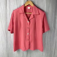 Sweet Little VINTAGE Pretty In Pink SIZE 14/16 UK Short Sleeve Button Blouse V1