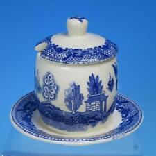 Japan - Blue Willow Pattern - 2 Piece Jam or Mustard Jar - Restaurant Ware Type
