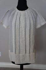 NEW Anthropologie Day Birger Mikkelsen Cotton Silk Crochet Blouse Top S SRP $219