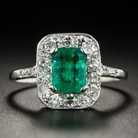 Vintage Design 925 Silver Square Emerald Gemstone Wedding Engagement Ring