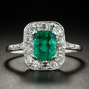 Vintage Design 925 Silver Square Emerald Gemstone Wedding Engagement Ring Gifts