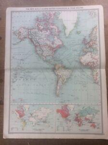 Antique Colour Map The New World British Possessions Trade 1904 Harmsworth Atlas