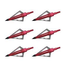 6 Pcs Hunting Broadheads 100 Grain 3 Fix Blade Broad Arrow Heads Arrows Screw