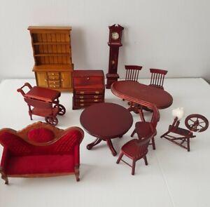 Vintage Dollhouse Miniature Furniture Wood Kitchen Dining Cabinet Display Sofa