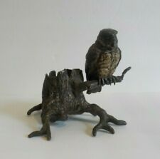 Franz Bergmann Austrian Bronze Owl on Stump Match Holder, Signed