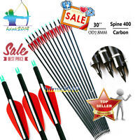 """12x 30""""Spine 400 Archery Carbon Arrows for Compound or Recurve Bow Hunting Arrow"""