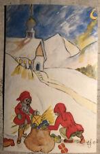 Christmas Postcard ~ Santa Elves Church God Jul Posted Via Sweden 1983