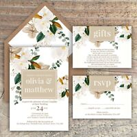 WEDDING INVITATIONS, Personalised LATTE & IVORY Watercolour floral packs of 10
