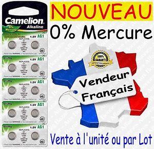 Battery/Piles bouton 0% Mercure AG1 LR60 LR621 364 2 10 20 50 AG3 AG10 AG13 1,5V