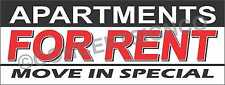 4'X10' APARTMENTS FOR RENT BANNER Outdoor Sign XL Move In Specials Rentals Lease