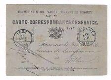 1884 Belgium Military Postal Card, Tongres to Lodz Poland