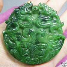 BEAUTIFUL OLD GREEN JADE HANDWORK CARVED DRAGON STATUE PENDANT