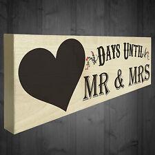 Wedding Countdown Days Until Mr & Mrs Wooden Plaque Chalkboard Engagement Gift