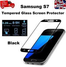 3D Libre de Burbuja de Tamaño Completo Protector de Pantalla de Vidrio Templado para Samsung S7 Negro