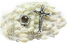 Shell Rosary Necklace Mother of Pearl Beads Jerusalem Holy Soil Medal & Cross