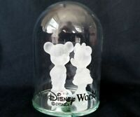 Walt Disney World Frosted Glass Mickey Minnie Mouse in Dome Porcelain Flower