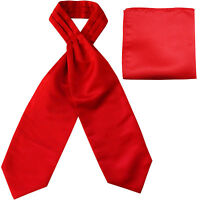 New polyester solid men's full ASCOT cravat necktie set wedding Prom Red