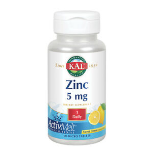 Kal 5 Mg Lemon Zinc Vegan Tablets, 60 Count
